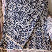 Midnight Blue Overshot Throw - Star Pattern